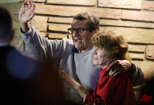 Former Penn State Coach Joe Paterno and Wife, Sue Paterno Nov 9 2011 Photo / AP - Gene J. Puskar, File