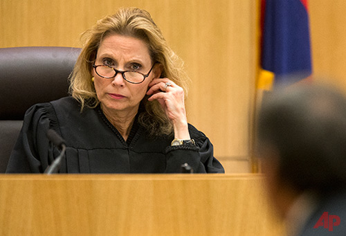 Judge Sherry Stephens left, listens to prosecutor Juan Martinez during the cross examination of Jodi Arias in Maricopa County Superior Court, Tuesday, Feb. 26, 2013. Photo / AP -The Arizona Republic - Tom Tingle