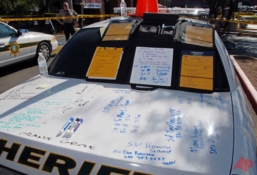 Notes-are-seen-scrawled-on-the-trunk-of-a-police-car-January-2011-PhotoAP-Pima-County-Sheriff