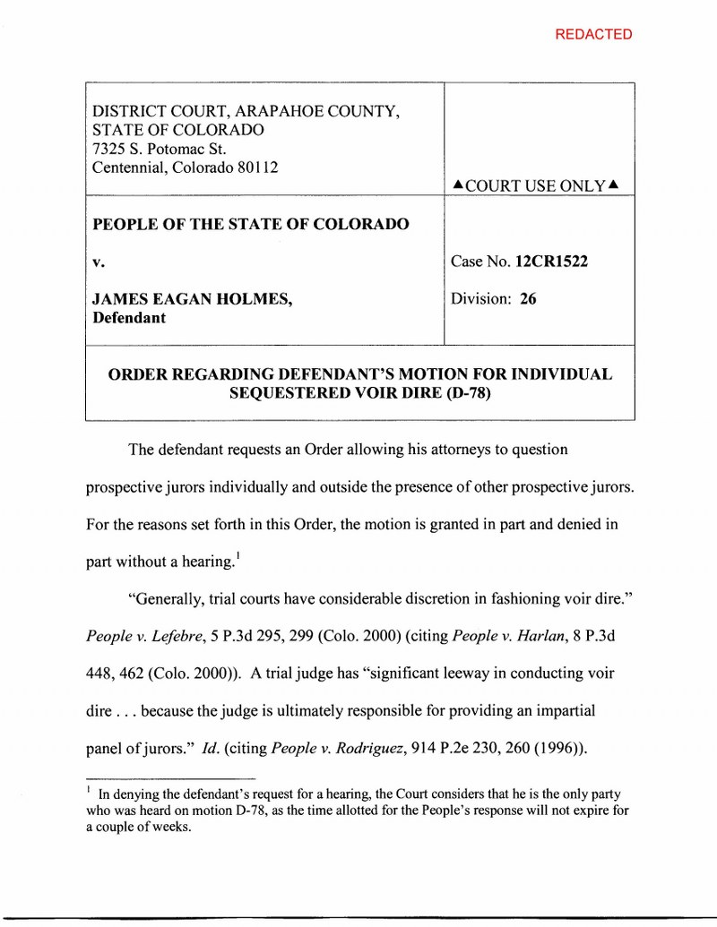 Holmes Order Regarding Defendants Motion for Individual Sequestered Voir Dire D-78