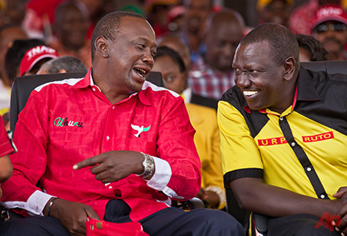 Kenyan Presidential candidate Uhuru Kenyatta, left, and his running mate William Ruto March 2, 2013- Photo / AP - Ben Curtis File