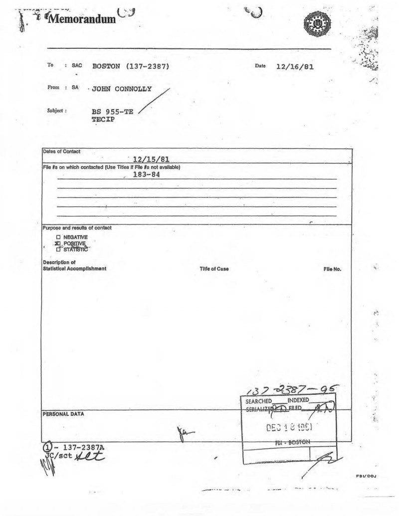 a page from Bulger Informant file
