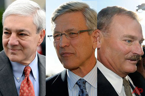 Photo compilation of Tim Curley, Gary Shulz and Graham Spanier. Photos /  AP