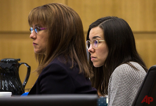 Defense attorney Jennifer Willmott, left,) and Jodi Arias listen to final arguments during the sentencing phase of her retrial at Maricopa County Superior Court, Tuesday, Feb. 24, 2015 in Phoenix. (AP Photo/The Arizona Republic, Mark Henle, Poo