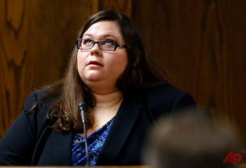 Eddie Ray Routh's sister Laura Blevins testifies during the capital murder trial of the former Marine Cpl. at the Erath County, Donald R. Jones Justice Center in Stephenville, Texas, Wednesday, Feb. 18, 2015. Routh, 27, of Lancaster, is charged with the 2013 deaths of former Navy SEAL Chris Kyle and his friend Chad Littlefield at a shooting range near Glen Rose, Texas. (AP Photo/Mike Stone, Pool)