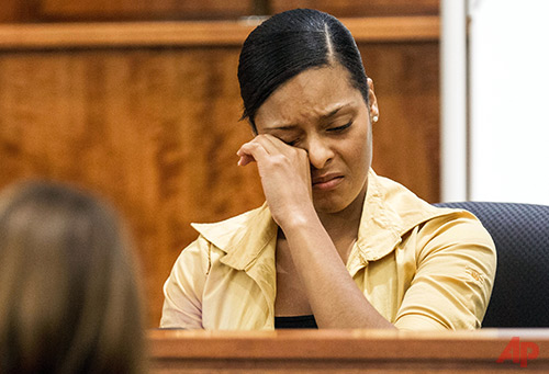 Shaneah Jenkins testifies during the murder trial of former New England Patriots player Aaron Hernandez at Bristol County Superior Court in Fall River, Mass., Tuesday, Feb. 3, 2015. Hernandez is accused of the June 2013 killing of Odin Lloyd. (AP Photo/The Boston Globe, Aram Boghosian, Pool)