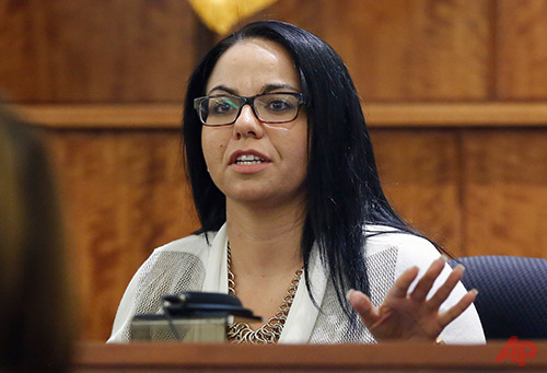 Kasey Arma testifies in the murder trial of former New England Patriots football player Aaron Hernandez, Thursday, March 19, 2015, in Fall River, Mass. Hernandez is charged with killing Odin Lloyd. (AP Photo/Steven Senne, Pool)