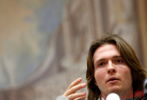In this July 1, 2014 file photo Raffaele Sollecito speaks during a press conference in Rome. The founder of a heavily visited Wiki site about the prosecutions of U.S. star defendant Amanda Knox and her former Italian boyfriend is bracing for a spike in traffic when Italy's high court decides next Wednesday, March 25, 2015 whether to confirm the guilty verdicts against the former lovers in the 2007 murder of Knox's British roommate. (AP Photo/Riccardo De Luca, File)