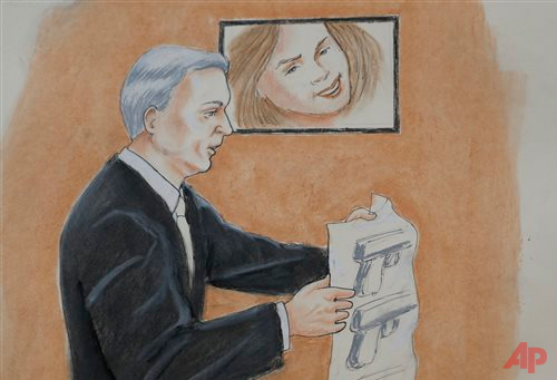 In this Monday, April 27, 2015, sketch by courtroom artist Jeff Kandyba, prosecutor George Brauchler makes a point during the opening day of the trial for Aurora, Colo., theatre shooting suspect James Holmes Monday, April 27, 2015, in Centennial, Colo. The trial will determine if Holmes will be executed, spend his life in prison or be committed to an institution as criminally insane. (AP Photo/Jeff Kandyba)