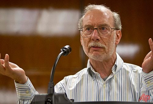 Stan Patz, father of Etan Patz, pauses as he speaks about his son at a press conference, after a judge declared a mistrial for Pedro Hernandez at Manhattan Supreme Court, Friday, May 8, 2015, in New York. A jury was hung after 18 days of deliberating the case against Hernandez, charged with murder in the 1979 disappearance of 6-year-old Etan Patz. (AP Photo/Bebeto Matthews)