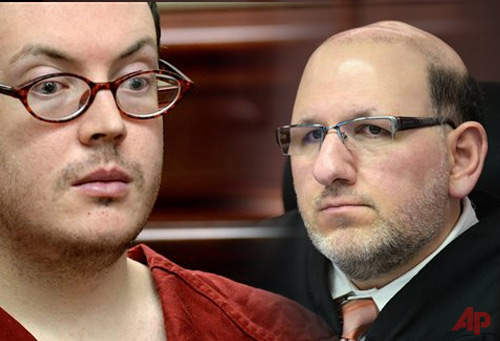 James Holmes appears in court for the sentencing phase in his trial, Tuesday, Aug. 25, 2015, at Arapahoe County District Court in Centennial, Colo. Victims and their families were given the opportunity to speak about the shooting and its effects on their lives. Holmes was convicted Aug. 7 of murdering 12 people when he opened fire on a crowded movie theater in 2012. (RJ Sangosti/The Denver Post via AP, Pool)