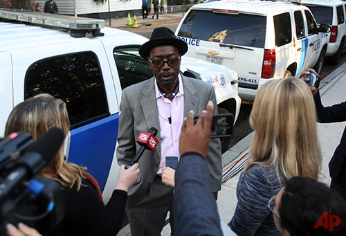 Tyrone Sanders the father of, 26-year-old Tywanza speak to the media after the death sentence hearing for Dylann Roof on Wednesday, Jan. 11, 2017 in Charleston, S.C. (Leroy Burnell/The Post And Courier via AP)