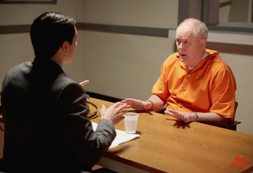 "In this image released by NBC, Nicholas D'Agosto, left, and John Lithgow appear in a scene from ""Trial & Error."" The series premieres with back-to-back episodes Tuesday at 9 p.m. EST. (Tyler Golden/NBC via AP)"