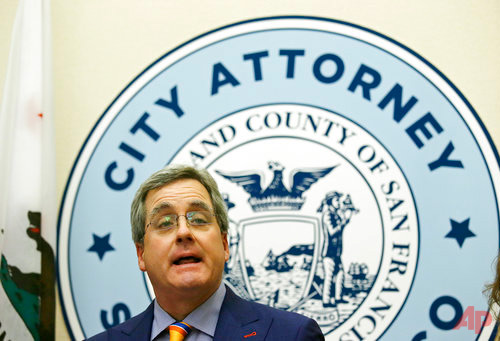"City Attorney Dennis Herrera talks about a federal judge's order blocking any attempt by the Trump administration to withhold money from ""sanctuary cities ""during a news conference at City Hall Tuesday, April 25, 2017, in San Francisco. (AP Photo/Eric Risberg)"