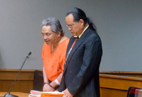 "Peter Kema Sr., left, pleads guilty to manslaughter and first-degree hindering prosecution in the death of his son, Peter Kema Jr., also known as ""Peter Boy,"" who went missing in 1997, in Hilo Circuit Court in Hilo, Hawaii on Wednesday, April 5, 2017. Peter Kema Sr. also agreed to a 20-year prison sentence, with a mandatory minimum of six years and eight months if he helps authorities find the remains of his son, Peter Jr., who was 6 when he disappeared. (Hollyn Johnson/Hawaii Tribune-Herald via AP, Pool)"