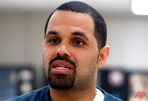 "In this May 7, 2014 file photo, Rene Lima-Marin sits for an interview with The Associated Press about the circumstances of his sentencing and incarceration, in a meeting room inside Kit Carson Correctional Center, a privately operated prison in Burlington, Colo. Lima-Marin was sent back to prison after being mistakenly released 90 years early. On Tuesday May 16, 2017, a judge ordered him released from prison again, saying it would be ""draconian"" to keep him behind bars and that he has paid his debt to society. (AP Photo/Brennan Linsley, File)"