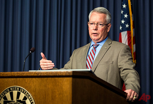 Maricopa County Attorney Bill Montgomery speaks during a news conference in Phoenix on Tuesday, May 9, 2017. During the Q&A session, Montgomery was asked about the recent arrest of Aaron Juan Saucedo in connection with a series of unsolved murders in Arizona. For more than a year, Phoenix police were stumped by a string of killings in which a shooter stalked victims after dark and gunned them down as they stood outside their homes or sat in their cars. Saucedo now faces 26 felony counts of homicide, aggravated assault and drive-by-shooting for 12 shootings that took place between August 2015 and July 2016. (AP Photo/Angie Wang)