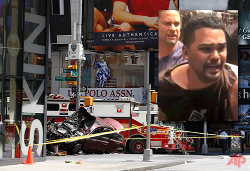 In this image made from video provided by Oscar Navarro Reyes, Richard Rojas is arrested after a fatal automobile accident on New York City's Times Square, Thursday, May 18, 2017. Authorities and witnesses said Rojas drove his car the wrong way up a Times Square street and plowed into pedestrians on the sidewalk. (Oscar Navarro Reyes via AP)