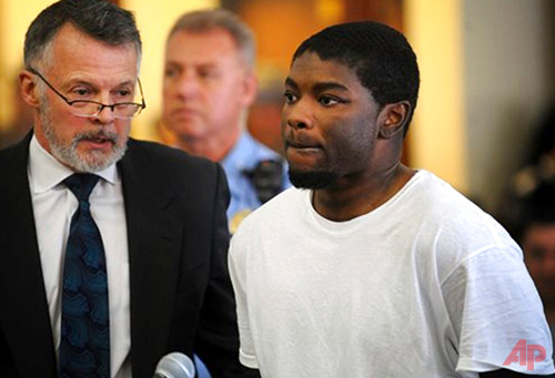 In this May 20, 2013, file photo, Jermaine Richards, right, stands with his lawyer, John R. Gulash, as he is arraigned on murder and kidnapping charges in the death of Eastern Connecticut State University (ECSU) student Alyssiah Marie Wiley at Superior Court in Bridgeport, Conn. Jury selection is scheduled to begin Friday, July 7, 2017, for a third trial of Richards. The first two trials of Richards ended in mistrials after the juries deadlocked. (Brian A. Pounds/Hearst Connecticut Media via AP, Pool, File)