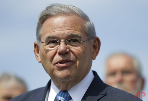 In this Thursday, Aug. 17, 2017, file photo, Sen. Bob Menendez, D-N.J., speaks during a news conference, in Union Beach, N.J. Opening statements are scheduled for Wednesday, Sept. 6, in the trial of Menendez and Florida ophthalmologist, Dr. Salomon Melgen. They are charged with a conspiracy in which, prosecutors say, Menendez lobbied for Melgen's business interests in exchange for political donations and gifts. (AP Photo/Julio Cortez, File)