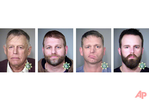 This undated, combination file photo provided by the Multnomah County, Ore., Sheriff's Office shows, from left; Nevada rancher Cliven Bundy and his sons Ammon Bundy and Ryan Bundy and co-defendant Ryan Payne. Ryan Bundy, who is serving as his own lawyer, was ordered released Monday, Nov. 13, 2017 to a halfway house for the men's trial stemming from a 2014 armed standoff against government agents in a public lands cattle grazing dispute. (Multnomah County Sheriff's Office via AP, File)
